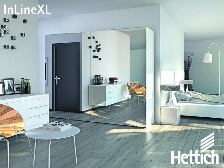 The InLine XL Sliding Door System from Hettich allows you to create the perfect flush front. Click on the pin for more inspiration & information! #slidingdoors #mirroredwardrobe