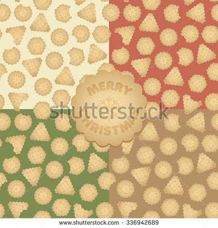 Set of vector Christmas seamless pattern with gingerbread cookies - stock vector