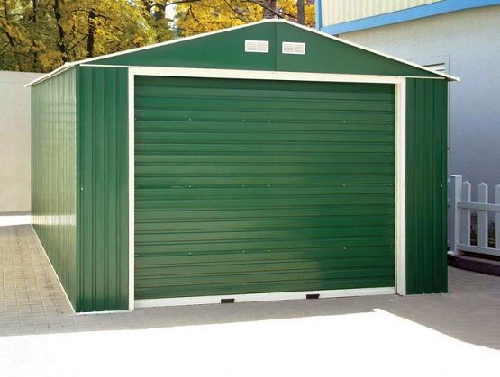 Portable metal garage green