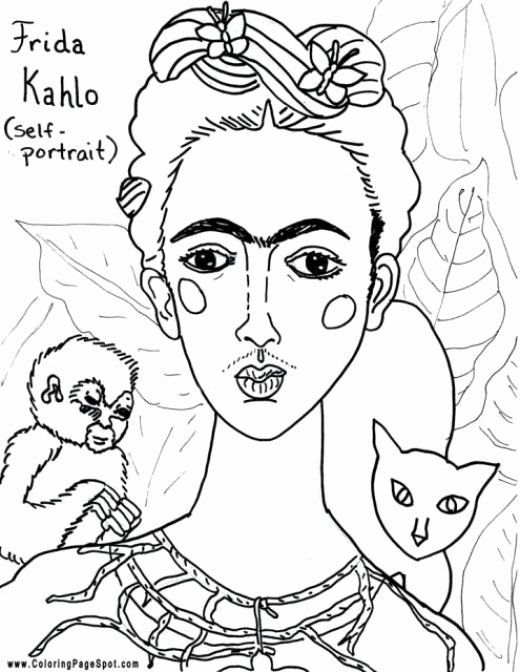 24 Frida Kahlo Coloring Page 2020 Famous Art Coloring