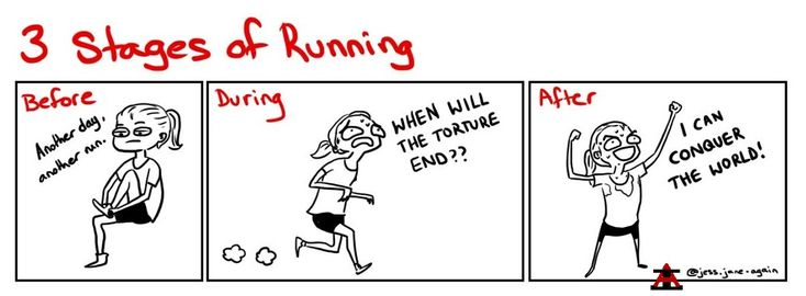 There are three stages of running you go through when pounding the pavement: arrogance, despair, and euphoria. View the stages of running.