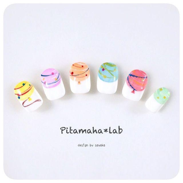 ハンドメイドマーケット minne(ミンネ)  再販【色が選べる♪】夏祭り☆ヨーヨーネイル