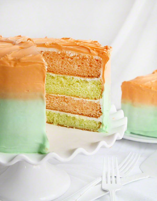 Key Lime and Orangesicle Layer Cake {from Pillsbury cake mixes!} | i am bakerLayer Cakes, Ombré Cake, Orangesicle Layered, Spring Cake Recipe, Junk Food, Cake And Cupcakes Recipe, Spring Layered, Layered Cake Recipe, Keys Limes Cake Mixed