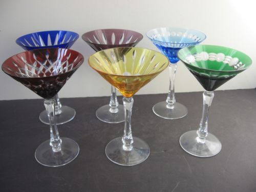 Signed Birks Hungarian Crystal Set Of 6 Large Colored Stemmed Martini Glasses Color Glass