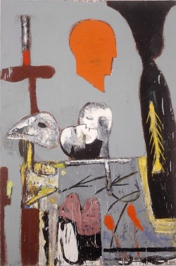 Mimmo Paladino Untitled, 1991 oil on canvas 59 x 39 1/2 inches 149.9 x 100.3 cm SW 92496 Private Collection