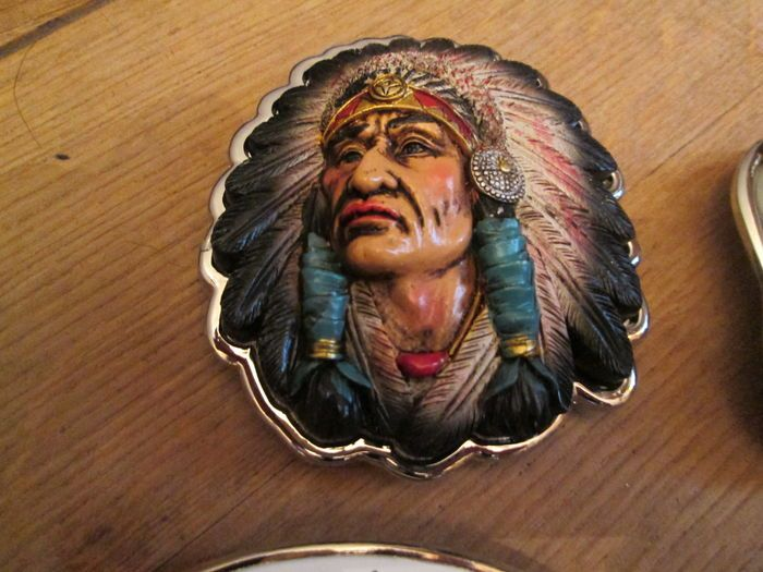 Collectie van 9x  belt buckle riemgespen Usa-Indianen/Eagle