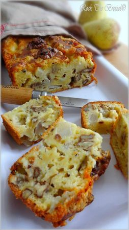 Cake poires roquefort et noix