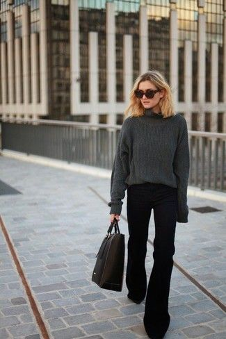 Women's Charcoal Oversized Sweater, Black Flare Jeans, Black Leather Tote Bag, Dark Brown Sunglasses