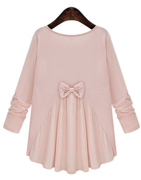 Trendy Scoop Neck Bowknot Embellished Long Sleeves T-Shirt For Women