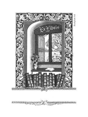 "Offered by the Antioch Bookplate Company as early as the late 1940s, this popular design has the text, ""A book is like a good friend; my friends I would forever keep"" in the ribbon of the window frame."