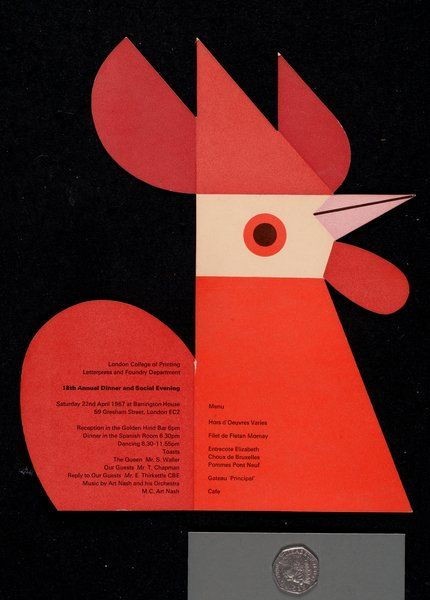 Cockerel menu, Tom Eckersley. 1967
