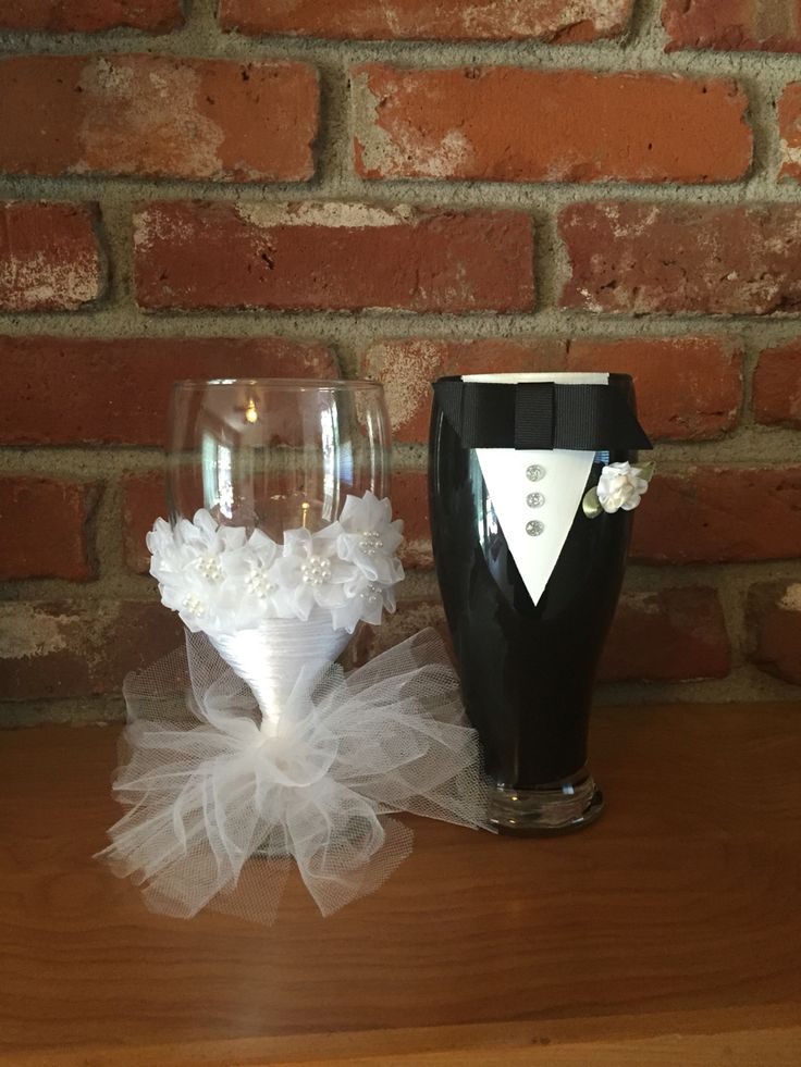 Look at this on eBay:  https://www.ebay.com/itm/172763430957  Bride & Groom Wine Glasses   Bride and groom glasses. These are my favorite that I've done