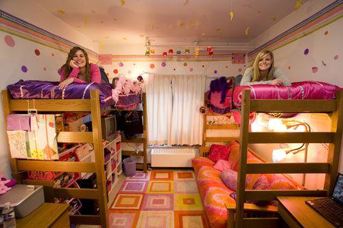 College Dorm Decoration/Organization Ideas, futon/lounge under one lofted bed, work/organization (TV too) under another lofted bed