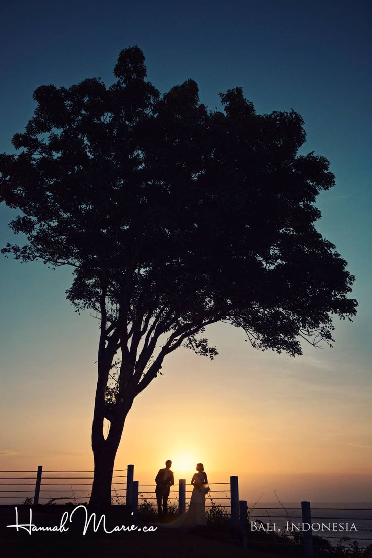 Bride and Groom silhouette watching the sunset over the Indian Ocean at their destination wedding in Bali, Indonesia. Hannah Marie, Waterloo Wedding Photographer www.hannahmarie.ca