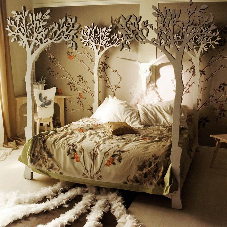 Would probably forgo the giant cow skull, :/ , but other than that... beautiful! Under the apple tree canopy bed - Modern romantic Scandinavian design Sleep Therapy woodland fairy tale.
