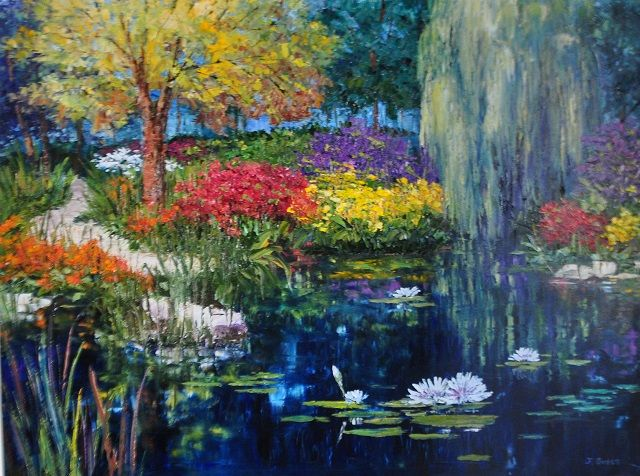 """Willow Pond"" (2014)  Jan Guess  Oil on Canvas  45""w 43""h; Available through Filsinger Fine Art, Palm Desert, CA  SOLD"