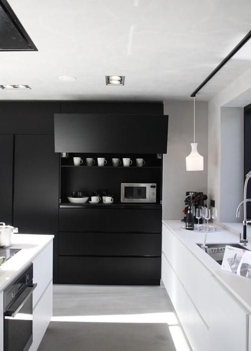 cuisine design blanc et noir. Black Bedroom Furniture Sets. Home Design Ideas