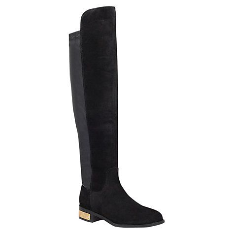 Buy Carvela Pacific Low Block Heel Over The Knee Boots, Black Leather/ Suede Online at johnlewis.com