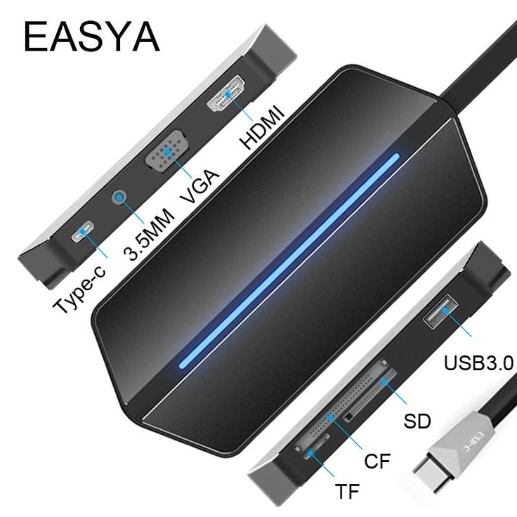 EASYA USB Type C To VGA HDMI Adapter 8 In 1 USB C Hub 3.0 Thunderbolt USB Combo Card Reader With 3.5MM Socket For MacBook Pro-in USB Hubs from Computer & Office on Aliexpress.com | Alibaba Group