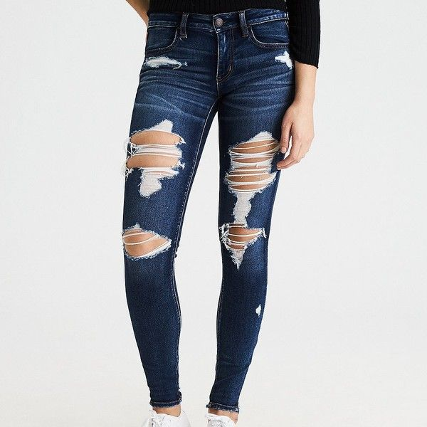 AE Denim X Jegging (4,455 INR) ❤ liked on Polyvore featuring pants, leggings, blue, blue leggings, torn leggings, stretch leggings, ripped jeggings and blue jeggings