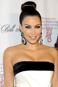 Kim Kardashians slicked back high bun