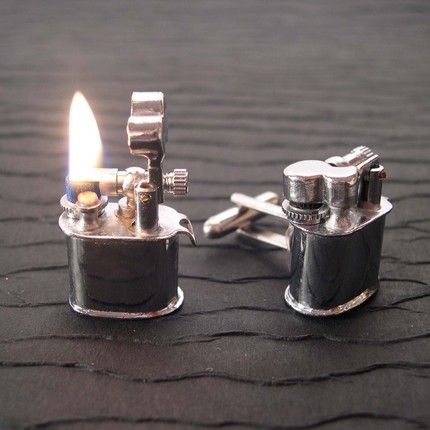 Vintage Lighter Cufflinks (with Fire!): I don't own french cuffs shirts, nor do I smoke.  The cufflinks are still awesome.