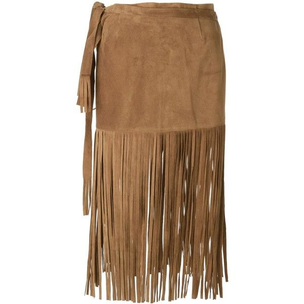 P.A.R.O.S.H. 'Mindy' fringed skirt ($360) ❤ liked on Polyvore featuring skirts, leather skirt, knee length leather skirt, brown skirt, fringe skirt and p.a.r.o.s.h.