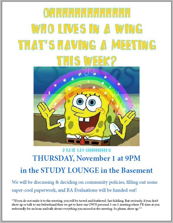 spongebob hall meeting flyer
