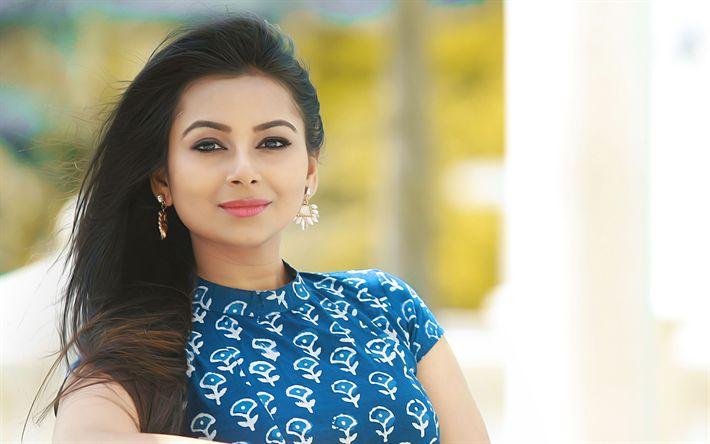 Download wallpapers Mrudula Murali, 4k, Bollywood, Indian actress, portrait, blue dress