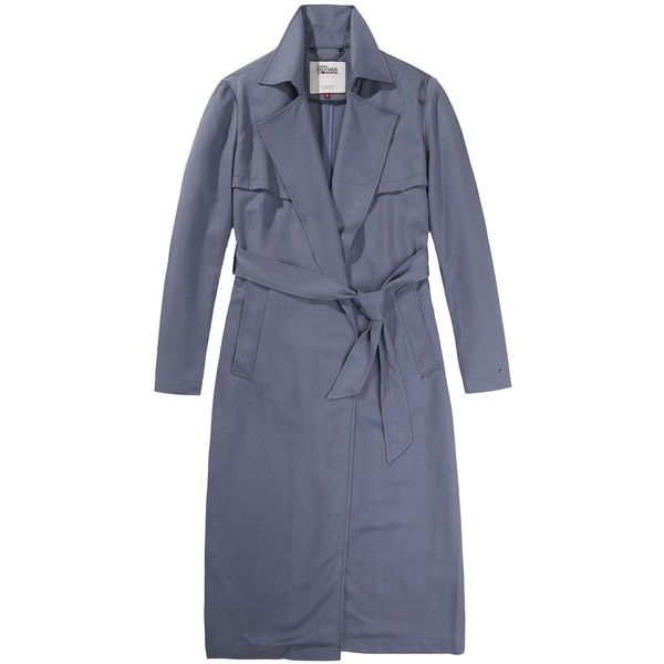 Tommy Hilfiger Fluid Trench Coat (12.795 RUB) ❤ liked on Polyvore featuring outerwear, coats, women coats & jackets, lightweight coat, wrap coat, trench coat, tommy hilfiger coat and lightweight trench coat