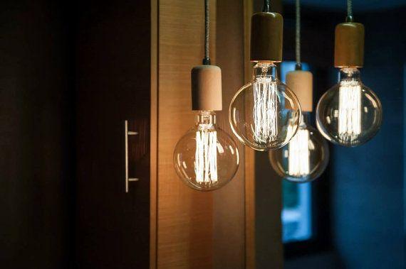 lampadari industriali vintage : Wood Handmade Pendant Light Chandelier Edison Restoration Industrial ...