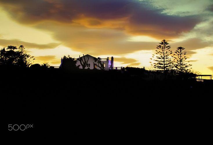 Silhouette Orange Sunset. - Silhouette Orange Sunset . Landscape Photography.