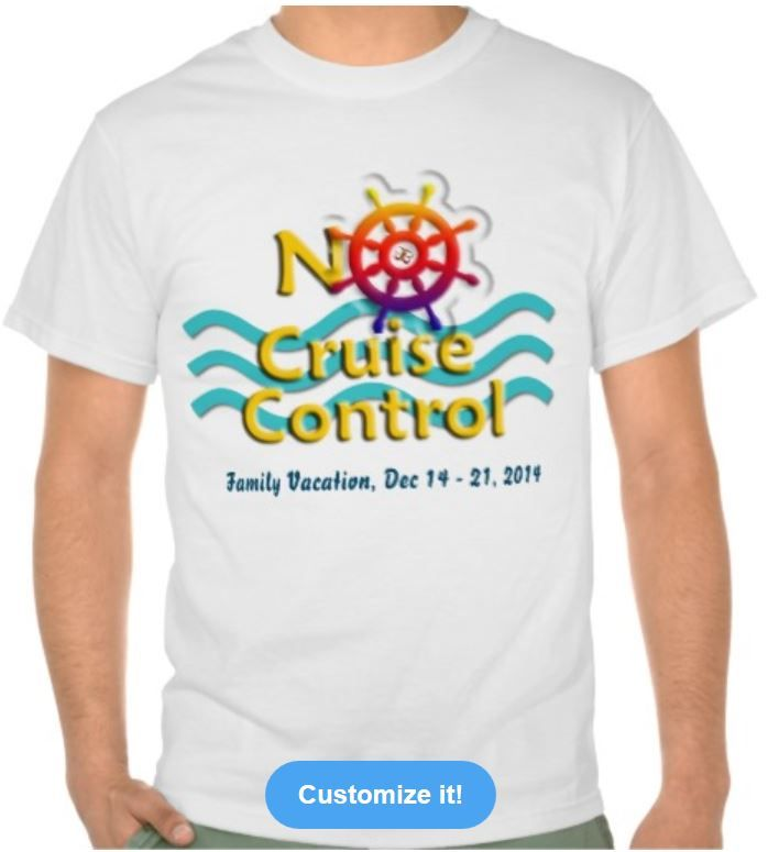 "For Cruise Lovers who don't have ""cruise control""! Express your love for cruising with this cruise-themed T-shirt, featuring blue ocean waves and a cruise-ship wheel. Completely customizable, you can pick your own shirt color or text. Personalize it with your family name, the special occasion, the cruise line, or a date of sailing to memorialize a wonderful experience, or in anticipation of a cruise vacation. Have everyone in your party wear it for guaranteed fun and conversation starter."
