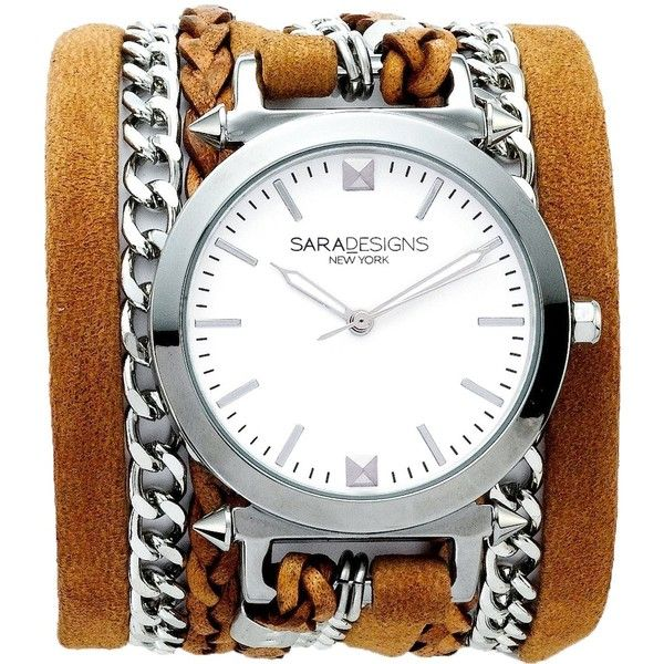 Sara Designs Chain And Leather Wrap Watch ($245) ❤ liked on Polyvore