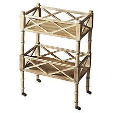 Taylor Rolling Bar Cart, Natural Wood