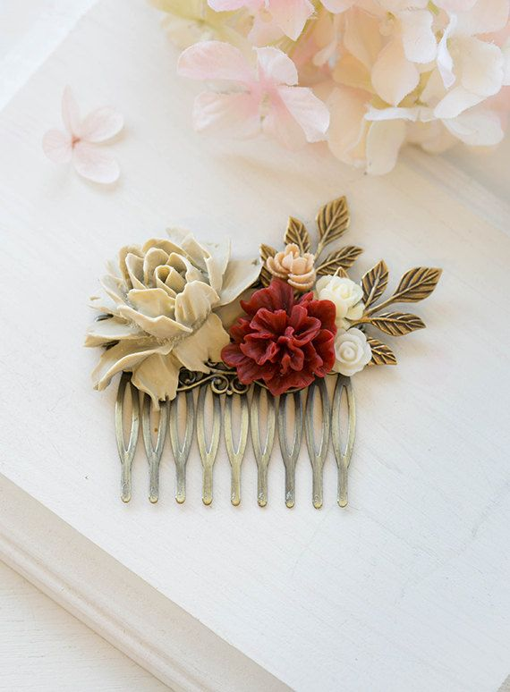 Vintage Inspired Burgundy Red Khaki Apricot Ivory Floral Collage Hair Comb. Wedding Bridal Hair Comb. Woodland Hair Accessory. A sturdy antiqued brass