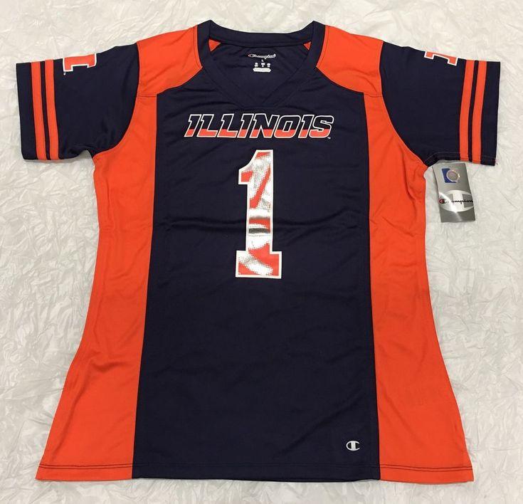 Illinois Fighting Illini Champion Womens Navy Orange Colorblocked Jersey Large #Champion #IllinoisFightingIllini