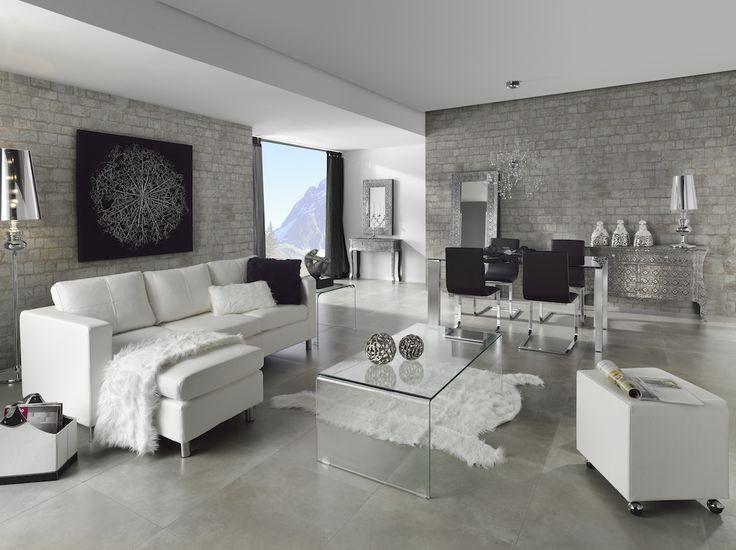 Comedor moderno con toque vintage blanco y negro modern for Decoracion de interiores comedores modernos