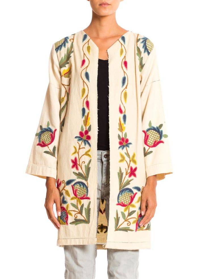 1960s Wool Crewel Embroidery on Cotton Coat