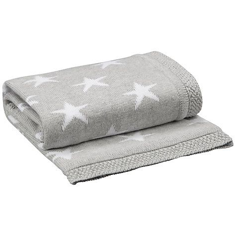 John Lewis Baby Star Knitted Blanket, Grey at johnlewis.com - pretty contrasting baby blanket #Caredotcom #RoyalNursery