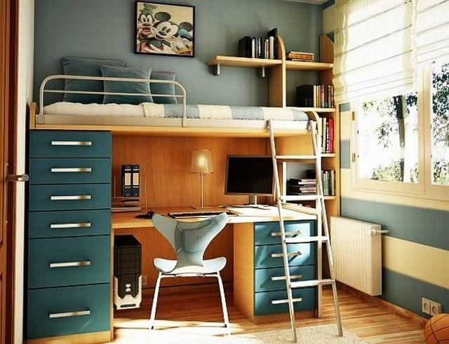 lit-bureau dans une chambre d'ado