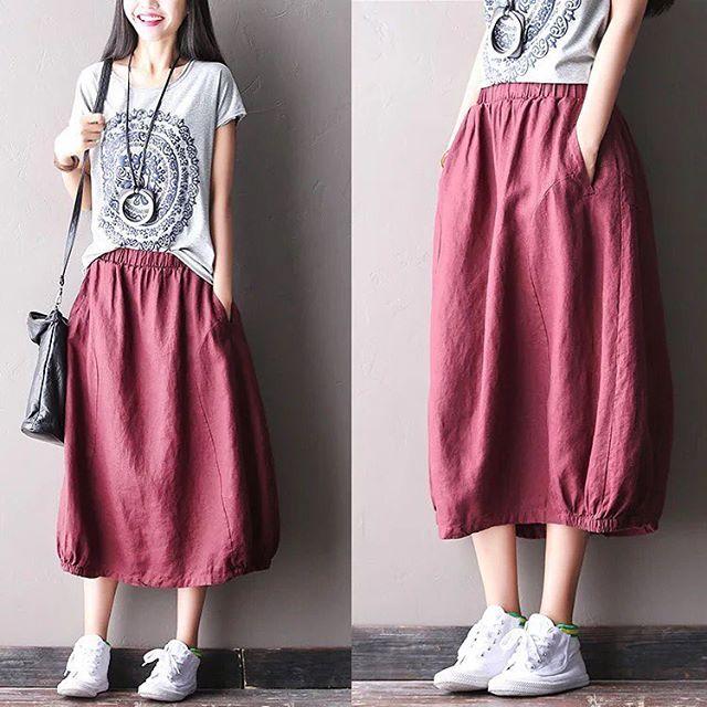 Red flower skirt