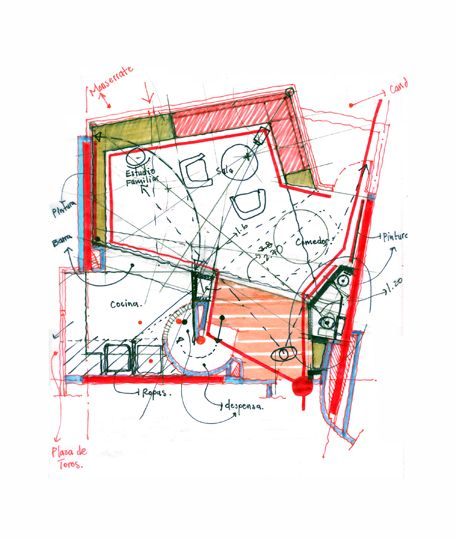 Manuelvilla - Architectural drawing / rendering / diagram - Handrawn 2D floorplan sketch
