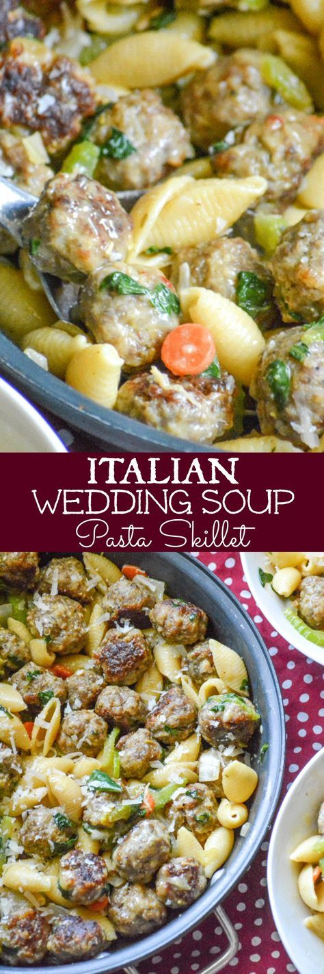 Skip the broth and turn a family favorite soup into a hearty pasta dinner. This Italian Wedding Soup Pasta Skillet is a quick and easy meal, full of flavor, any day or night of the week.
