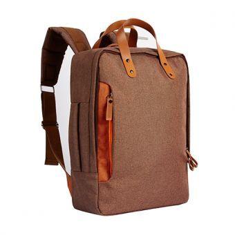 Mochila Backpack Portafolio Cafe. Espacio para Laptop y Tablet. Preppy Hipster Style. Unisex