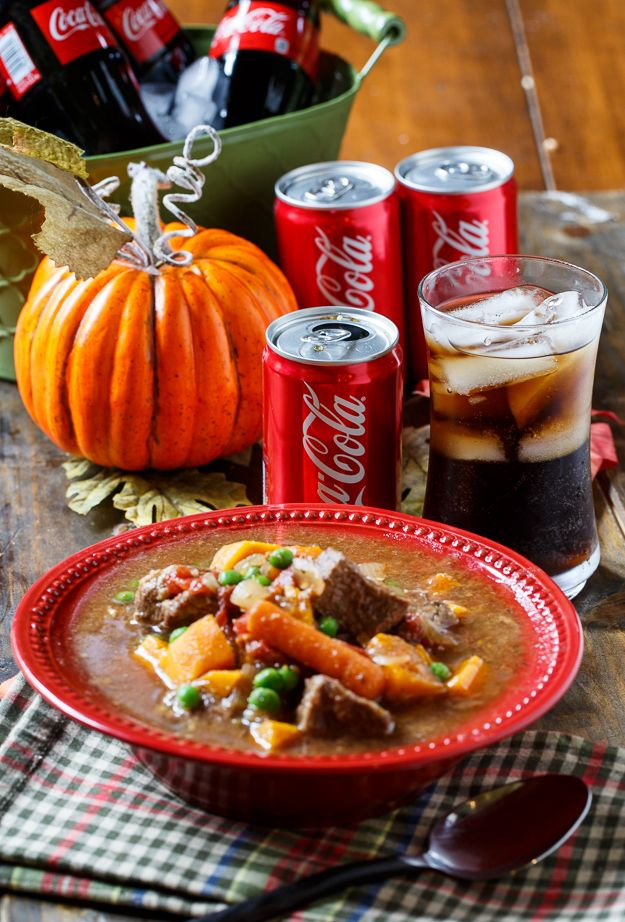 Slow cooker beef stew with Coca-Cola is the tastiest way to celebrate fall. A Coke mini adds the perfect amount of sweetness. Recipe from our partner Christin.