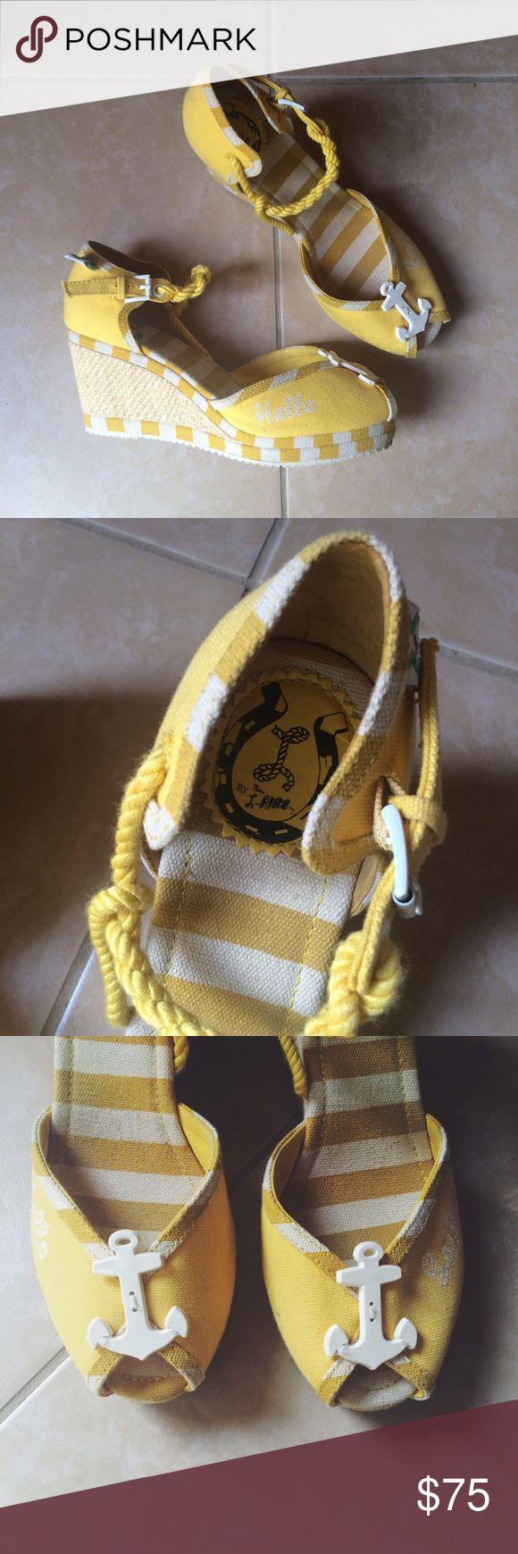 "Miss L Fire ""Hello Sailor"" yellow espadrilles 41 Brand // Miss L Fire  Size // 41 / US 10 Excellent condition. Retro / vintage 1940s style. miss l fire Shoes Wedges"