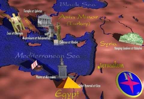Mejores 79 imgenes de ancient history maps en pinterest historia seven wonders of the world clickable map c1 w4 gumiabroncs Image collections