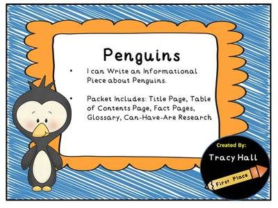 All About Penguins Informative Writing from Tracy Hall-First Place on TeachersNotebook.com -  (14 pages)  - Let your students enjoy researching Penguins and then allow them to create their very own Informative Book about Penguins. STUDENT CREATED Penguin Non-Fiction Book.