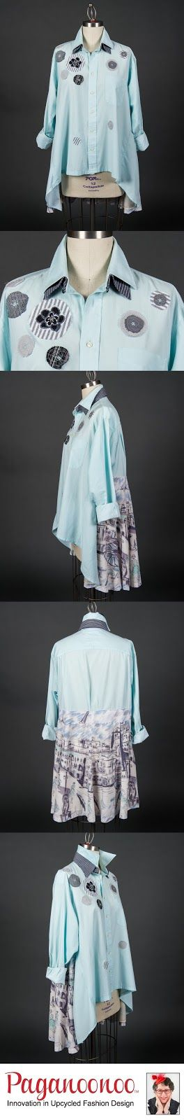 """Upcycled man's dress shirt and woman's lined skirt.  Made using the Paganoonoo upcycle sewing pattern """"Patti"""""""